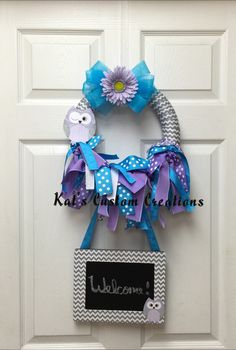 Owl Chevron Lavender and Turquoise Chalkboard Welcome Baby Shower Wreath!