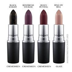 """Mac Dark desires LE Sneakpeek  Lipsticks: • Black knight (Cremesheen) • Boyfriend stealer (Cremesheen) • Heavy Petting (Cremesheen) • Ring my Bell…"""