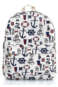 Nautical Anchor Print Backpack - OASAP.com