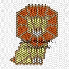 Motif Perles Miyuki Brickstitch Lion Origami de @notevenme d'après la jolie broche de Hug a Porcupine