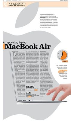 The implementation of the laptop graphic and signature Apple logo creates a distinctive place for the eye to go. It incorporated a familiar shape into the category of the article.