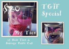 Happy FRIDAY!!! TGIF Special is here! 20 $ for 15 Hair Ties (a mix of colors) & an adorable storage paint can! A 50 $ value!    Comment on this photo with your email address to order! Today only! 5/11      https://www.facebook.com/pages/My-Ties/112121788893768