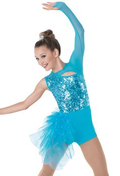 """Blue Sequined Cut-Out Bodice and Spandex Attached Shorts with Mesh Arm and Glitter Tulle Spiraled Side Bustle - """"Walking on a Dream"""""""