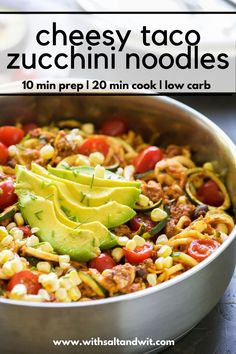 One Pot Cheesy Taco Zucchini Noodle Skillet is a healthy spin on Taco Tuesday! Zucchini noodles, enchilada spiced ground turkey, black beans, corn and creamy avocado help makeover this dish! Pesto Zucchini Noodles, Zucchini Noodle Recipes, Vegetable Recipes, Healthy Zucchini, Veggie Noodles, Healthy Ground Turkey, Ground Turkey Recipes, Cooking Recipes, Healthy Recipes