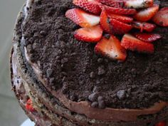 Chocolate Cake+Pudding+Strawberries= Anniversary Cake!