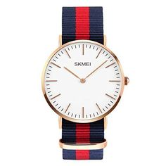 Men's Stainless Steel Classic Quartz Analog Business Wrist Watch with Thin Dial, Replaceable Multi-Color Striped Nylon Band (CakCity)