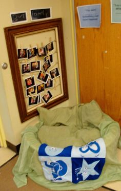 Family boards are placed by our safe zone so that when a child needs to have a picture of their family it is readily available. We created our family board using a old picture frame and drilled holes in the side for small eye bolts. Then we string rope and tie it off. The pictures are hung using clothes pins. This allows for the child to get their picture when they want it. Tip... Make several copies!!!!