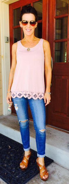 My Stitch Fix Le Lis Dalton Crochet Trim Knit Tank. Especially the color of the tank Cool Outfits, Summer Outfits, Casual Outfits, Fashion Outfits, Fasion, Passion For Fashion, Love Fashion, Ripped Denim, Torn Jeans