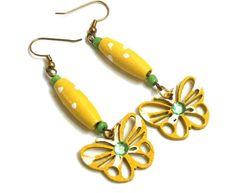 Valentine's Day Yellow Butterfly Wood Earrings Wooden