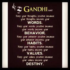 #Word of wisdom by Gandhi. ~