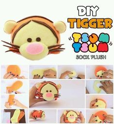 How to Make Tigger Tsum Tsum Sock Plush Diy Sensory Toys, Diy Toys, Sock Crafts, Cute Crafts, Sewing Toys, Sewing Crafts, Disney Diy Crafts, Sewing Stuffed Animals, Kawaii Diy
