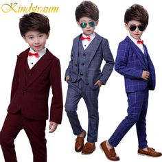 cbbb6acb6b4b Kindstraum 4pcs Boys Suits for Weddings Cotton Plaid Blazer+Vest+Pants+Shirt  Kids Clothing Sets Children Formal Suits, MC727-in Suits from Mother & Kids  on ...