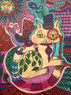 Colored with permanent and watercolor markers. From the Funky Cat coloring book.
