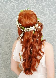 Wreath whimsical white floral crown wedding by gardensofwhimsy, $100.00