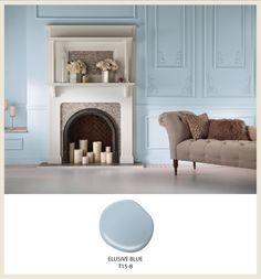 "Breezy living room with pastel blue interior paint color in ""Elusive Blue"" from Behr."