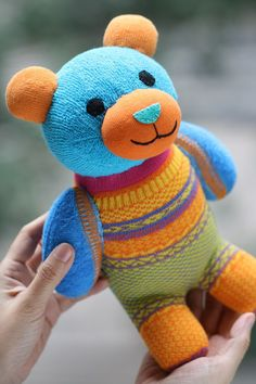 Kawaii plush Handmade bear stuffed animal baby by Toyapartment