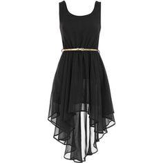 Asymmetric black dress.