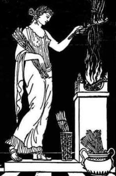 Hesta was the virgin goddess of the hearth, the home and family. She was also the goddess of the sacrificial flame and  assigned by Zeus the duty to maintain the fires of the Olympian hearth. Every home had a hearth that was dedicated to the goddess, and each day started and ended with a ritual requesting she protected the family.