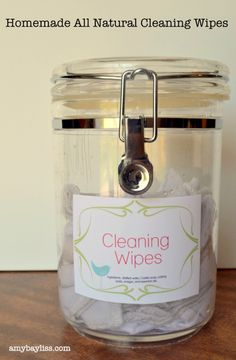 Homemade Cleaning Wipes  1/2 tsp of liquid castile soap  1 tsp Borax  1 tsp of washing soda  1/2 cup white vinegar  2 cups hot water  25-30 drops of essential oil ( I use Tea Tree, Grapefruit, and Eucalyptus)    Clothes in container, saturate with the above mixture.  Use like wipes, wash clothes and save to use again when jar is empty. :)
