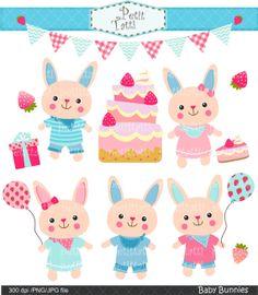 bunny clip art , balloons clip art , birthday clip art , bunnies and balloons, rabbits clip art , INSTANT DOWNLOAD
