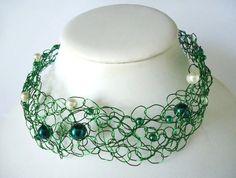 One of a kind ooak Dark Green Crochet Wire by JulieDeeleyJewellery, £5.99