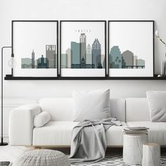 London prints, London 3 piece wall art, London skyline set of 3 posters, travel decor, large wall ar Milwaukee Skyline, Kansas City Skyline, Skyline Art, Cleveland Skyline, Atlanta Skyline, Nyc Skyline, Memphis Skyline, Liverpool Skyline, Melbourne Skyline