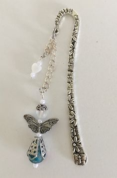 Tibetan Silver Bookmark with Large Glass Bead /& BUTTERFLY.Birthday Present//Gift.