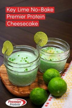 These crustless Key Lime No-Bake Premier Protein Cheesecake cups are healthy, portion-controlled, and only 78 calories. With just a few ingredients, this refreshing dessert will hit the spot! Protein Cheesecake, Protein Desserts, Protein Smoothie Recipes, Protein Snacks, Fruit Smoothies, Cheesecake Recipes, Healthy Snacks, Cheesecake Cups, High Protein