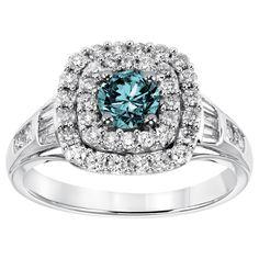 Cambridge 10k White Gold 1 1/4ct TDW Blue Diamond Cushion Halo Engagement Ring - Overstock™ Shopping - Top Rated Cambridge Diamond Rings