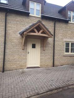 Front Door Canopy, Porch Canopy, Front Door Porch, Porch Doors, Front Porch Design, Porch Entrance, Front Stoop, Porch Oak, Brick Porch