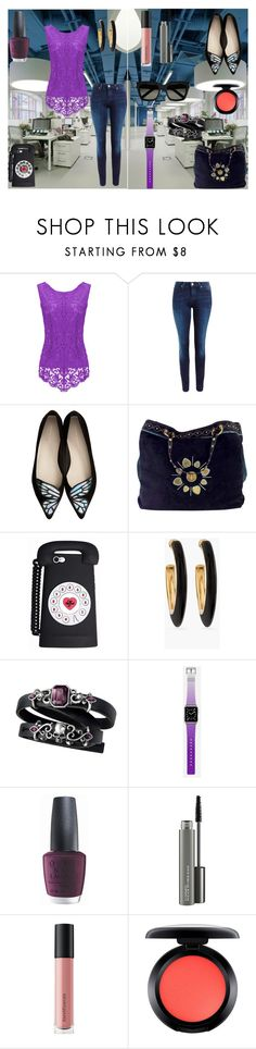 """Working girl!"" by dadacollins on Polyvore featuring Lee, Sophia Webster, Gucci, Chico's, Casetify, OPI, MAC Cosmetics, Bare Escentuals and Yves Saint Laurent"
