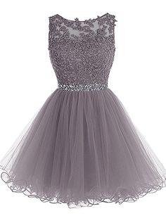 MicBridal® Kurz Spitzen und Tüll Rund-Ausschnitt Rückenlos Kleid Ballkleid mit Strass Grau