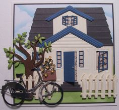 I've had fun playing with the new Marianne Design Craftable Scandinavian House Die . Fist I made a New House by cutting the die with diffe. New Home Cards, House Of Cards, Die Cut Cards, Pop Up Cards, Housewarming Card, Bicycle Cards, Bee Cards, Shaped Cards, Marianne Design