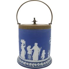 #MondayBlues #VintageBeginsHere at www.rubylane.com @Rubylanecom -- Blue Wedgwood Jasperware Biscuit Jar