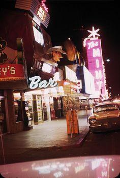 Fremont St, Las Vegas, 1958 as seen from the rear window. via classiclasvegas