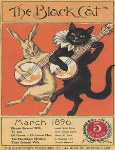 THE BLACK CAT PLAYING GUITAR SINGING 1896 BOSTON VINTAGE POSTER REPRO