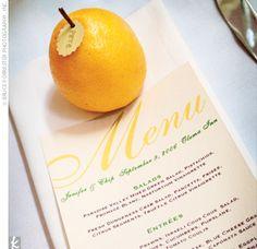 lemon menu name place card centerpiece...replace with lime