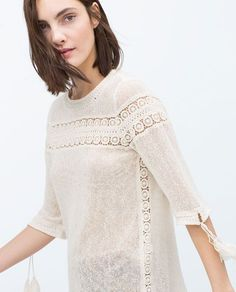 ZARA - WOMAN - COMBINED GUIPURE LACE MESH TOP *side lace detail *cuff detail Kurta Designs, Saree Blouse Designs, Frock Fashion, Fall Fashion Outfits, Blouse Patterns, Lace Tops, Zara, How To Wear, Clothes