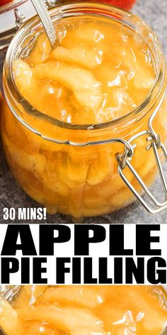 APPLE PIE FILLING RECIPE- Learn how to make the best quick and easy homemade apple pie filling from scratch on the stovetop. Homemade with simple ingredients and ready in just 30 minutes. Perfect dessert for Thanksgiving #pie #apples #thanksgiving #dessert Canning Apple Pie Filling, Apple Pie Recipe Easy, Homemade Apple Pie Filling, Easy Pie Recipes, Apple Pie Recipes, Canning Recipes, Fall Recipes, Apple Filling, Homemade Pie