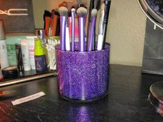 DIY Galaxy Makeup Brush Holder