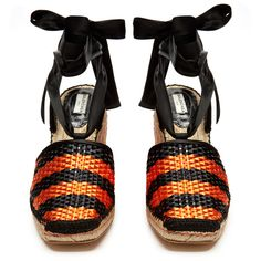 Balenciaga Bazar striped raffia-effect wedge espadrilles ($635) ❤ liked on Polyvore featuring shoes, sandals, balenciaga shoes, ankle tie wedge sandals, espadrille sandals, woven sandals and ankle strap sandals