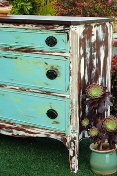 """Super Shabby Dresser from Mak and Jill"""" Mahogany top:sanded, stained  and waxed. Painted Green - hated it,  put Aqua over it - so easy with Annie Sloan Chalk Paint. Body in good old """"Old White"""" and then got out my orbital sander and distressed like crazy"""