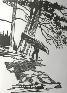 Next image >> Kafka On The Shore, Canoe Camping, Canoes, Lino Cuts, Woodburning, Photomontage, Pyrography, Wood Carving, Consciousness
