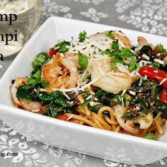 Skinny Shrimp Scampi Pasta. Try this recipe. Step -by-step instructions included. Low cal and so delicious! I've made it many times!