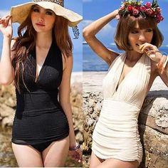 Fashionable Sexy Monokini Halter One Piece Swimsuit Deep V Swimwear Bikini Dress