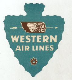 WESTERN AIRLINES - ARROWHEAD 1940'S Vintage Label