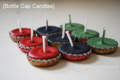 20 Creative Bottle Cap Ideas (Recycle Crafts) candles and magnets are another idea @Wendi Lantz