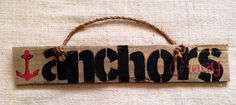 Anchors Away pallet wood sign with rope handle. by SeaCityDesigns