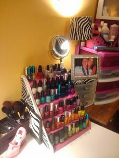 """diy nail polish rack from a cardboard box:    Cardboard Box, Box Cutter, Hot Glue Gun/Sticks, Ruler, Fabric (optional)  Cutting: Cut flaps off box, cut sides diagonally  Assemble shelves: can go up 2"""" and in 2"""" or whatever measurements  Decorate: With fabric, wrapping paper, tape, etc..."""