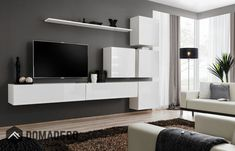 Modern furniture for living room Shelf Furniture, Living Room Furniture, Condo Living, Home And Living, Wall Shelving Units, Living Room Wall Units, Modern Wall Units, Colorful Apartment, Home Entertainment Centers